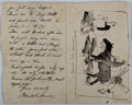 Autographs:Artists, George Denholm Armour (1864-1949, Artist and PunchIllustrator). Autograph Letter Signed with Original Drawing. ...
