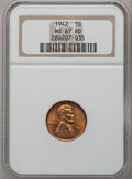 Lincoln Cents, 1942 1C MS67 Red NGC. NGC Census: (780/0). PCGS Population (126/0).Mintage: 657,828,608. Numismedia Wsl. Price for problem...