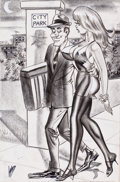 """Pin-up and Glamour Art, BILL WARD (American, 1919-1998). """"Why on Earth Did You StealOnly the Seat...Why Not the Whole Car?"""", Humorama cartoonill..."""