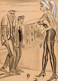 "Pin-up and Glamour Art, BILL WARD (American, 1919-1998). ""It Wasn't Saturday's Game ThatDid It to Me- It Was Meeting Up with the Opposition After..."