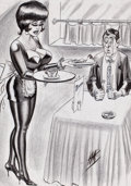 """Pin-up and Glamour Art, BILL WARD (American, 1919-1998). """"Yes, I'll Meet You After I GoOff Duty, Provided You Can Survive the Food They Serve Her..."""