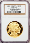 Modern Bullion Coins, 2008-W G$50 One-Ounce Gold Buffalo PR70 Ultra Cameo NGC. .9999Fine. NGC Census: (1524). PCGS Population (422). Numismedia...