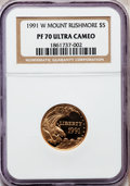 Modern Issues: , 1991-W G$5 Mount Rushmore Gold Five Dollar PR70 Ultra Cameo NGC.NGC Census: (1). PCGS Population (357). Mintage: 111,991. ...