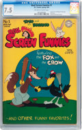 Golden Age (1938-1955):Cartoon Character, Real Screen Funnies #1 (DC, 1945) CGC VF- 7.5 Off-white to whitepages....