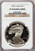 Modern Bullion Coins: , 1995-P $1 Silver Eagle PR70 Ultra Cameo NGC. NGC Census: (781).PCGS Population (327). Numismedia Wsl. Price for problem f...