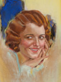 Pin-up and Glamour Art, MODEST STEIN (American, 1871-1958). Portrait of Janet Gaynor,Picture Play magazine cover, April 1931. Pastel on board. ...