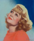 Pin-up and Glamour Art, E. DOW (American, 20th Century). Portrait of ConstanceBennett, 1934. Pastel on board. 14 x 12 in.. Signed lowerright. ...