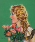 Pin-up and Glamour Art, MILA BAINE (American, 20th Century). Portrait of MaryPickford. Pastel on board. 20 x 16.5 in.. Signed lower left....