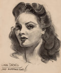 Pin-up and Glamour Art, JAMES MONTGOMERY FLAGG (American, 1877-1960). Portrait of LindaDarnell, LIFE Magazine illustration. Charcoal on paper. ...