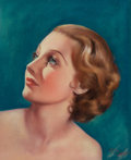 Pin-up and Glamour Art, E. DOW (American, 20th Century). Portrait of Carole Lombard,magazine cover. Pastel on paper. 15 x 12.5 in.. Signed lowe...