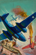 Pulp, Pulp-like, Digests, and Paperback Art, GEORGE ROZEN (American, 1895-1974). Battle in the Sky, SkyFighters pulp cover. Oil on canvas. 35.5 x 25 in.. Signedlow...