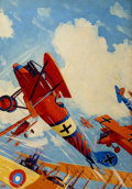 Pulp, Pulp-like, Digests, and Paperback Art, FREDERICK BLAKESLEE (American, 1898-1973). The Jailbird Flight,Battle Aces pulp cover, September 1931. Oil on canvas. 3...