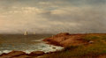 Fine Art - Painting, American:Antique  (Pre 1900), CHARLES W. KNAPP (American, 1823-1900). Along the Shore,Narragansett, circa 1880 . Oil on canvas. 20 x 36 inches (50.8...