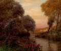 Fine Art - Painting, American, LOUIS ASTON KNIGHT (American, 1873-1948). The Evening Hour,Normandy. Oil on canvas. 18 x 21-1/2 x 3-1/2 inches (45.7 x ...