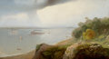 Fine Art - Painting, American:Antique  (Pre 1900), ANDREW MELROSE (American, 1826-1901). A View of New York fromCastle Point, Hoboken, 1870. Oil on canvas. 25 x 46 inches...