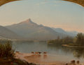 Fine Art - Painting, American:Antique  (Pre 1900), EDWARD W. NICHOLS (American, 1819-1871). Mount Chocorua, NewHampshire, 1858. Oil on board. 9-3/4 x 12-3/4 inches (24.8 ...