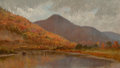 Fine Art - Painting, American:Antique  (Pre 1900), EDWARD W. NICHOLS (American, 1819-1871). Autumn Lake, NewHampshire. Oil on canvas. 6-1/2 x 11 inches (16.5 x 27.9 cm)....