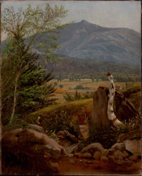 EDWARD W. NICHOLS (American, 1819-1871) Moat Mountain, North Conway Meadows, New Hampshire Oil on ca