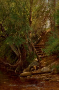 Fine Art - Painting, American:Antique  (Pre 1900), JOHN CLINTON OGILVIE (American, 1838-1900). Along the Creek.Oil on canvas. 22 x 14-3/4 inches (55.9 x 37.4 cm). Signed ...