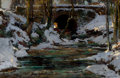 Fine Art - Painting, American:Modern  (1900 1949), HENRY HOBART NICHOLS (American, 1869-1962). Bridge in Winter(Central Park). Oil on canvas. 23 x 35-3/4 inches (58.4 x 9...