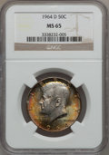 Kennedy Half Dollars: , 1964-D 50C MS65 NGC. NGC Census: (592/167). PCGS Population(772/492). Mintage: 156,205,440. Numismedia Wsl. Price for prob...