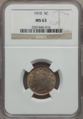 Liberty Nickels: , 1910 5C MS63 NGC. NGC Census: (137/275). PCGS Population (170/316).Mintage: 30,169,352. Numismedia Wsl. Price for problem ...