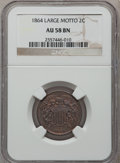Two Cent Pieces, 1864 2C Large Motto AU58 Brown NGC. NGC Census: (94/1293). PCGSPopulation (144/768). Mintage: 19,847,500. Numismedia Wsl. ...