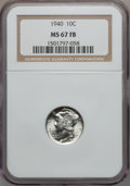 Mercury Dimes: , 1940 10C MS67 Full Bands NGC. NGC Census: (313/6). PCGS Population(328/23). Mintage: 65,361,828. Numismedia Wsl. Price for...