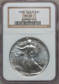 Modern Bullion Coins: , 1991 $1 Silver Eagle MS69 NGC. NGC Census: (75064/122). PCGSPopulation (5255/0). Mintage: 7,191,066. Numismedia Wsl. Price...