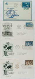 Books:Americana & American History, [First Day Covers]. Group of Four Related to The United Nations.1952-1953. Fine, very good. A first day cover is a stamped ...