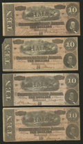 Confederate Notes:1864 Issues, T68 $10 1864 Four Examples.. ... (Total: 4 notes)