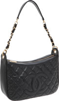 Luxury Accessories:Bags, Chanel Black Caviar Leather Half Moon Hobo Bag with Gold Hardware....