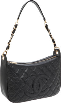 841f34d1e272c2 Chanel Black Caviar Leather Half Moon Hobo Bag with Gold Hardware