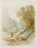 Fine Art - Work on Paper:Watercolor, WILLIAM TROST RICHARDS (American, 1833-1905). Split Rock,Adirondacks, 1868. Watercolor on paper. Image: 6 x 4-1/2inche...