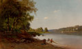 Fine Art - Painting, American:Antique  (Pre 1900), OTTO SOMMER (American, 1811-1911). The First Fish, 1866. Oilon canvas. 16 x 26 inches (40.6 x 66.0 cm). Signed, dated, ...