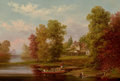 Fine Art - Painting, American:Antique  (Pre 1900), XANTHUS SMITH (American, 1839-1929). The Homestead (Down By theRiver), 1871. Oil on canvas. 12-1/4 x 18 x 3-1/2 inches ...