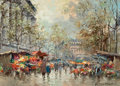 Paintings, ANTOINE BLANCHARD (French, 1910-1988). Flower Market--Paris. Oil on canvas. 13 x 18 inches (33.0 x 45.7 cm). Signed lowe...