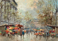 ANTOINE BLANCHARD (French, 1910-1988) Flower Market--Paris Oil on canvas 13 x 18 inches (33.0 x 4