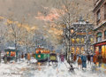 Fine Art - Painting, European:Contemporary   (1950 to present)  , ANTOINE BLANCHARD (French, 1910-1988). Paris, TheatreNational. Oil on canvas. 13 x 18 inches (33.0 x 45.7 cm).Signed l...