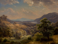 PAUL WEBER (German/American, 1823-1916) Extensive Landscape with Valley and Mountains (The Susquehanna Valley)<...