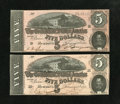 Confederate Notes:1864 Issues, T69 $5 1864 Two Examples.. . ... (Total: 2 notes)