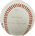 "Autographs:Baseballs, Willie Stargell Single Signed Baseball. Exceptional side panelsignature from Willie ""Pops"" Stargell is inscribed ""To Charl..."