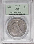Seated Dollars: , 1853 $1 VF35 PCGS. PCGS Population (5/145). NGC Census: (2/112).Mintage: 46,110. Numismedia Wsl. Price: $438. (#6941)...