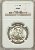 Walking Liberty Half Dollars: , 1939 50C MS66 NGC. NGC Census: (763/260). PCGS Population(1058/247). Mintage: 6,820,808. Numismedia Wsl. Price forproblem...