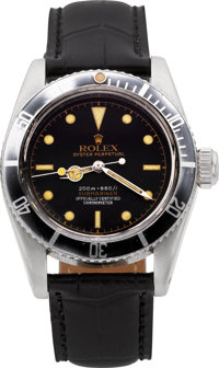"Rolex Rare Ref. 6538 Big Crown Gilt Four Line ""James Bond"" Submariner, circa 1957"
