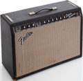 Musical Instruments:Amplifiers, PA, & Effects, 1966 Fender Deluxe Reverb Black Guitar Amplifier, Serial #A07128....