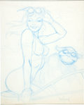 Original Comic Art:Miscellaneous, Dave Stevens Aurora's Flight Blue Pencil Preliminary ArtworkOriginal Art (undated)....