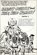 "Original Comic Art:Splash Pages, Jack Kirby Boys' Ranch #5 ""Bandits - Bullets and Wild, WildWomen"" Splash Page Original Art (Harvey, 1951)...."