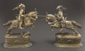 Silver Holloware, Continental:Holloware, A PAIR OF GERMAN SILVER-PLATED AND GILT FIGURAL KNIGHTS . Circa1880. 13-1/2 inches (34.3 cm). ... (Total: 2 Items)