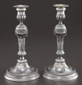 Silver Holloware, Continental:Holloware, A PAIR OF BELGIAN SILVER CANDLESTICKS . Maker unknown, Belgium,circa 1780. Marks: M, J, (marks effaced) . 10-3/4 inches...(Total: 2 Items)